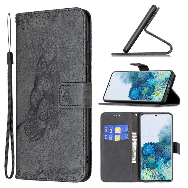 Binfen Color Imprint Vivid Butterfly Leather Wallet Case for Samsung Galaxy S20 Plus - Black