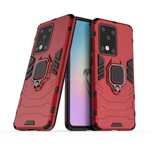 Black Panther Armor Metal Ring Grip Shockproof Dual Layer Rugged Hard Cover for Samsung Galaxy S20 Ultra / S11 Plus - Red