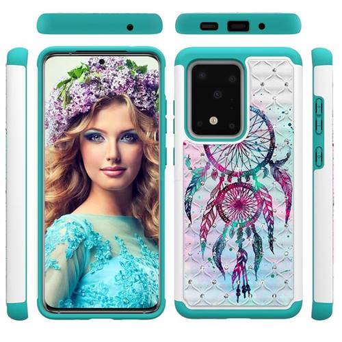 Color Drops Wind Chimes Studded Rhinestone Bling Diamond Shock Absorbing Hybrid Defender Rugged Phone Case Cover for Samsung Galaxy S20 Ultra / S11 Plus
