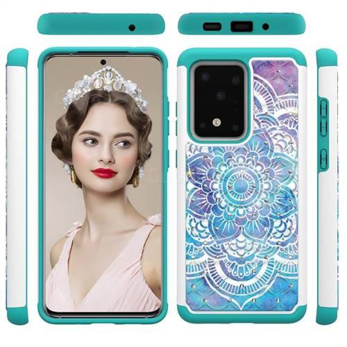 Mandala Studded Rhinestone Bling Diamond Shock Absorbing Hybrid Defender Rugged Phone Case Cover for Samsung Galaxy S20 Ultra / S11 Plus