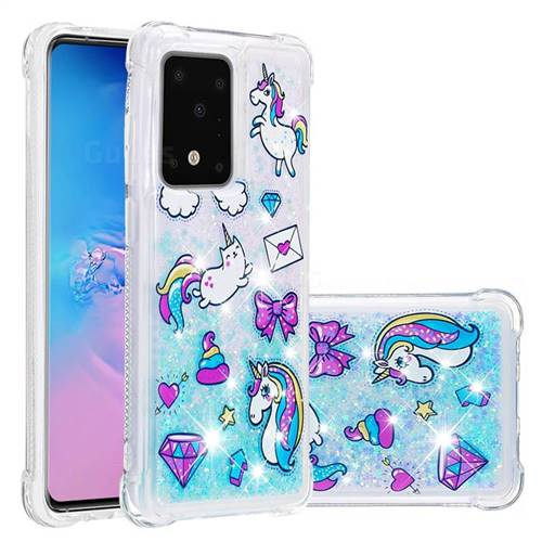 Fashion Unicorn Dynamic Liquid Glitter Sand Quicksand Star TPU Case for Samsung Galaxy S20 Ultra / S11 Plus