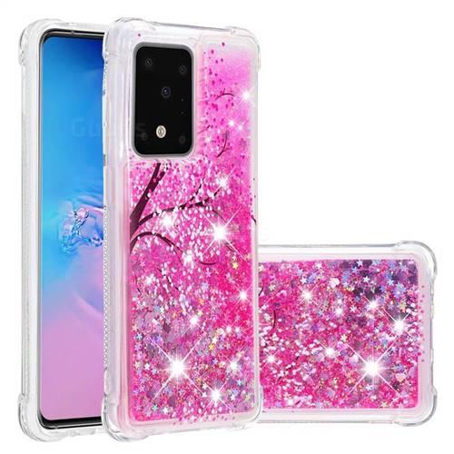 Pink Cherry Blossom Dynamic Liquid Glitter Sand Quicksand Star TPU Case for Samsung Galaxy S20 Ultra / S11 Plus