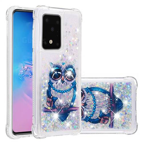 Sweet Gray Owl Dynamic Liquid Glitter Sand Quicksand Star TPU Case for Samsung Galaxy S20 Ultra / S11 Plus