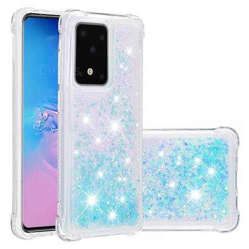 Dynamic Liquid Glitter Sand Quicksand TPU Case for Samsung Galaxy S20 Ultra / S11 Plus - Silver Blue Star