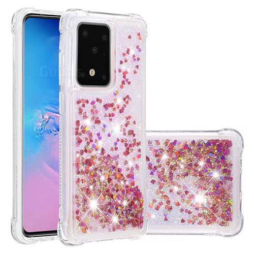Dynamic Liquid Glitter Sand Quicksand TPU Case for Samsung Galaxy S20 Ultra / S11 Plus - Rose Gold Love Heart