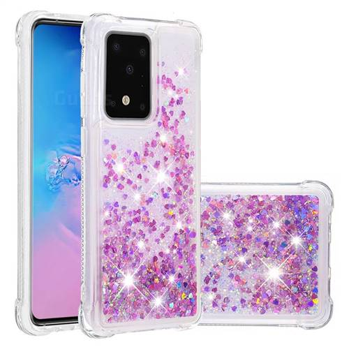 Dynamic Liquid Glitter Sand Quicksand Star TPU Case for Samsung Galaxy S20 Ultra / S11 Plus - Rose