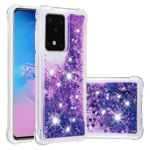 Dynamic Liquid Glitter Sand Quicksand Star TPU Case for Samsung Galaxy S20 Ultra / S11 Plus - Purple