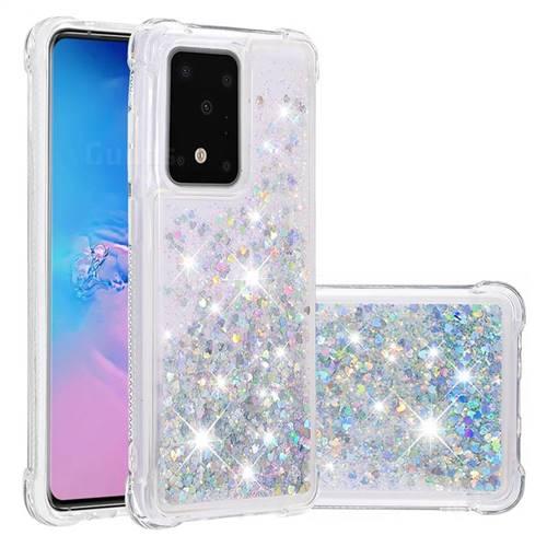 Dynamic Liquid Glitter Sand Quicksand Star TPU Case for Samsung Galaxy S20 Ultra / S11 Plus - Silver