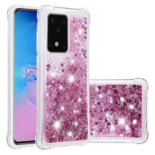 Dynamic Liquid Glitter Sand Quicksand Star TPU Case for Samsung Galaxy S20 Ultra / S11 Plus - Diamond Rose