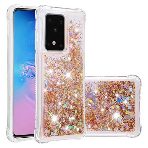 Dynamic Liquid Glitter Sand Quicksand Star TPU Case for Samsung Galaxy S20 Ultra / S11 Plus - Diamond Gold