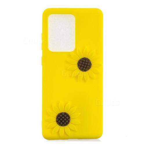 Yellow Sunflower Soft 3D Silicone Case for Samsung Galaxy S20 Ultra / S11 Plus