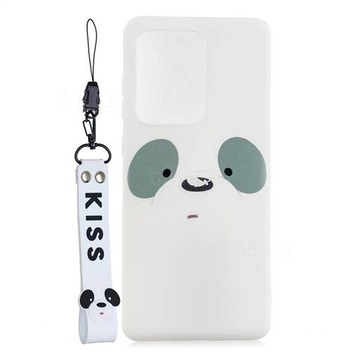 White Feather Panda Soft Kiss Candy Hand Strap Silicone Case for Samsung Galaxy S20 Ultra / S11 Plus