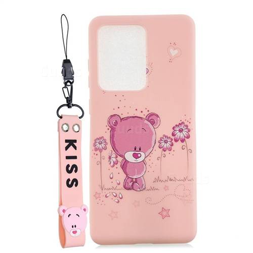 Pink Flower Bear Soft Kiss Candy Hand Strap Silicone Case for Samsung Galaxy S20 Ultra / S11 Plus