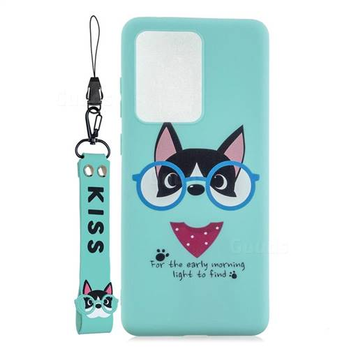 Green Glasses Dog Soft Kiss Candy Hand Strap Silicone Case for Samsung Galaxy S20 Ultra / S11 Plus