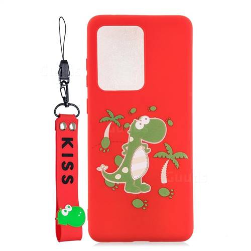 Red Dinosaur Soft Kiss Candy Hand Strap Silicone Case for Samsung Galaxy S20 Ultra / S11 Plus