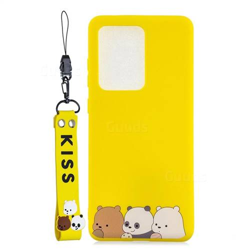 Yellow Bear Family Soft Kiss Candy Hand Strap Silicone Case for Samsung Galaxy S20 Ultra / S11 Plus