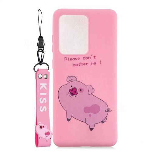 Pink Cute Pig Soft Kiss Candy Hand Strap Silicone Case for Samsung Galaxy S20 Ultra / S11 Plus