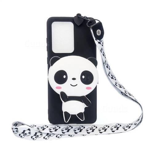 White Panda Neck Lanyard Zipper Wallet Silicone Case for Samsung Galaxy S20 Ultra / S11 Plus