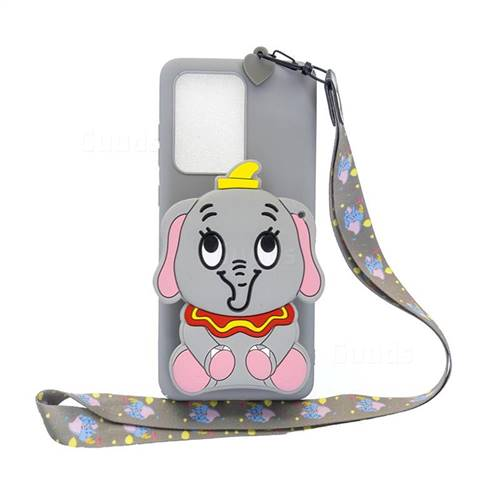 Gray Elephant Neck Lanyard Zipper Wallet Silicone Case for Samsung Galaxy S20 Ultra / S11 Plus