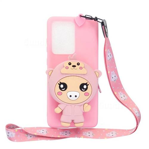 Pink Pig Neck Lanyard Zipper Wallet Silicone Case for Samsung Galaxy S20 Ultra / S11 Plus