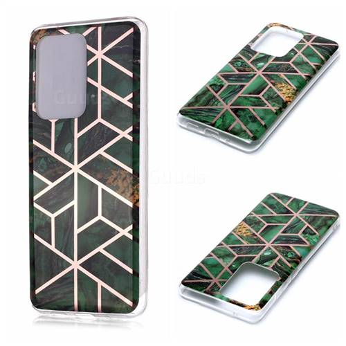Green Rhombus Galvanized Rose Gold Marble Phone Back Cover for Samsung Galaxy S20 Ultra / S11 Plus