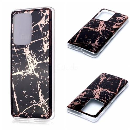 Black Galvanized Rose Gold Marble Phone Back Cover for Samsung Galaxy S20 Ultra / S11 Plus