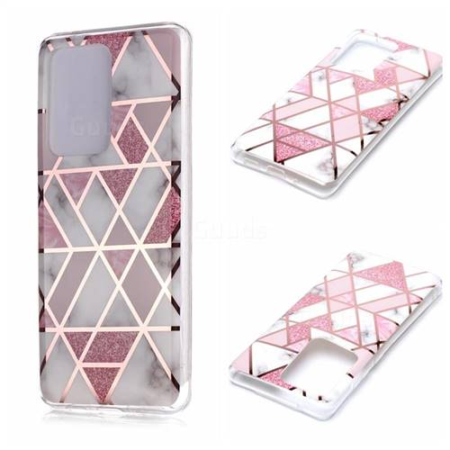 Pink Rhombus Galvanized Rose Gold Marble Phone Back Cover for Samsung Galaxy S20 Ultra / S11 Plus