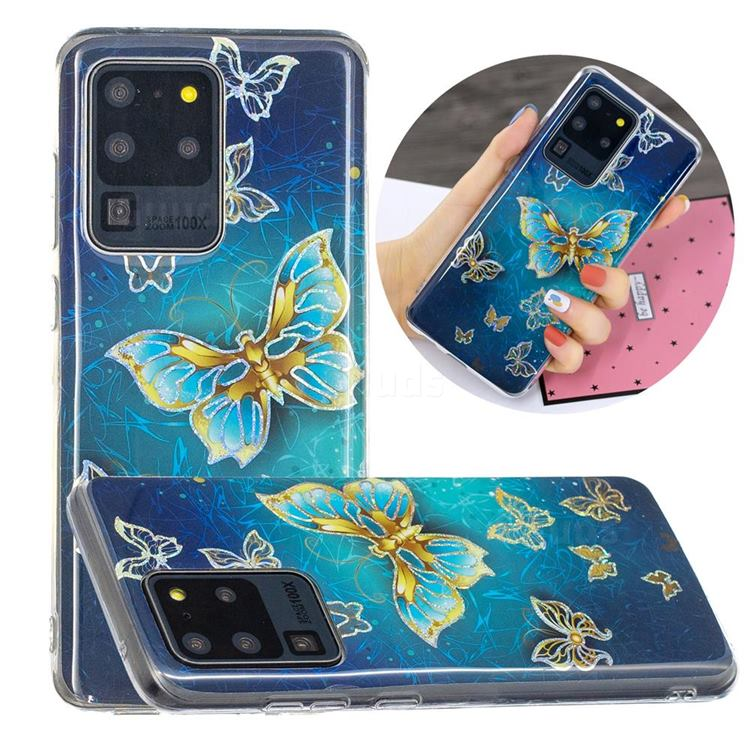 Golden Butterfly Painted Galvanized Electroplating Soft Phone Case Cover for Samsung Galaxy S20 Ultra