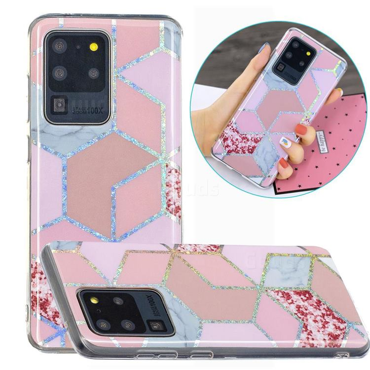Pink Marble Painted Galvanized Electroplating Soft Phone Case Cover for Samsung Galaxy S20 Ultra