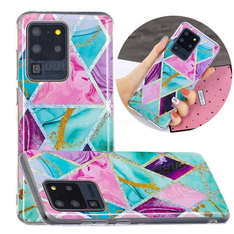 Triangular Marble Painted Galvanized Electroplating Soft Phone Case Cover for Samsung Galaxy S20 Ultra