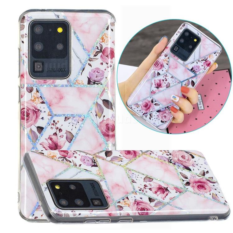 Rose Flower Painted Galvanized Electroplating Soft Phone Case Cover for Samsung Galaxy S20 Ultra