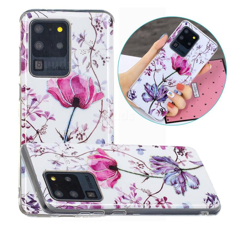 Magnolia Painted Galvanized Electroplating Soft Phone Case Cover for Samsung Galaxy S20 Ultra