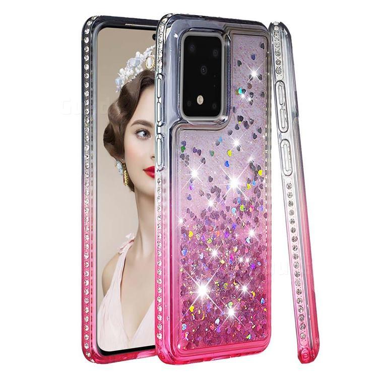 Diamond Frame Liquid Glitter Quicksand Sequins Phone Case for Samsung Galaxy S20 Ultra - Gray Pink