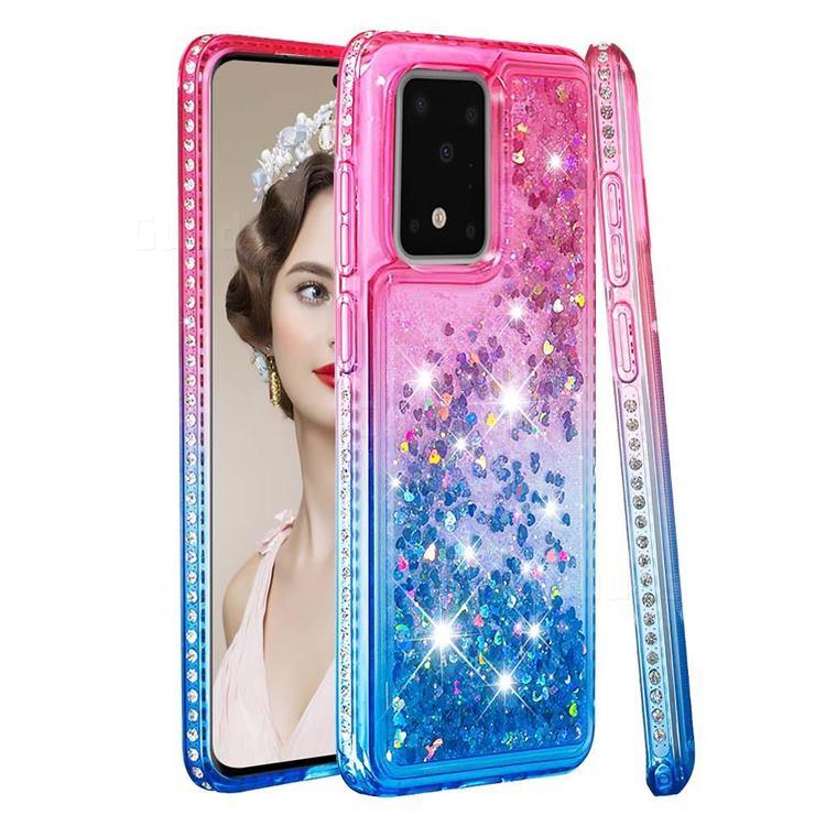 Diamond Frame Liquid Glitter Quicksand Sequins Phone Case for Samsung Galaxy S20 Ultra - Pink Blue