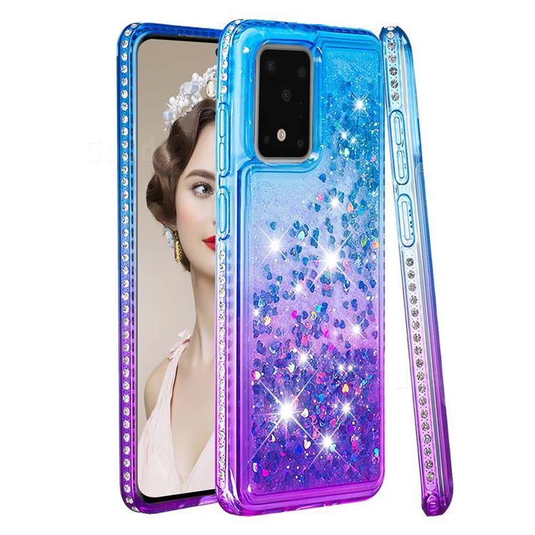 Diamond Frame Liquid Glitter Quicksand Sequins Phone Case for Samsung Galaxy S20 Ultra - Blue Purple