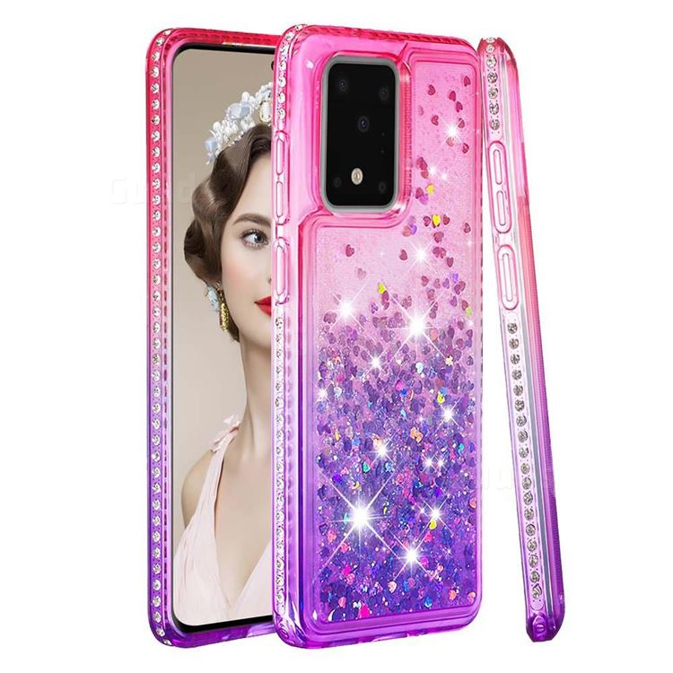 Diamond Frame Liquid Glitter Quicksand Sequins Phone Case for Samsung Galaxy S20 Ultra - Pink Purple