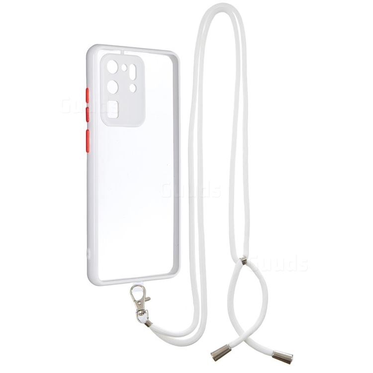 Necklace Cross-body Lanyard Strap Cord Phone Case Cover for Samsung Galaxy S20 Ultra - White