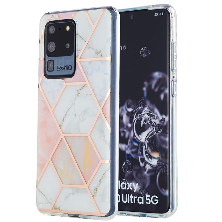 Pink White Marble Pattern Galvanized Electroplating Protective Case Cover for Samsung Galaxy S20 Ultra