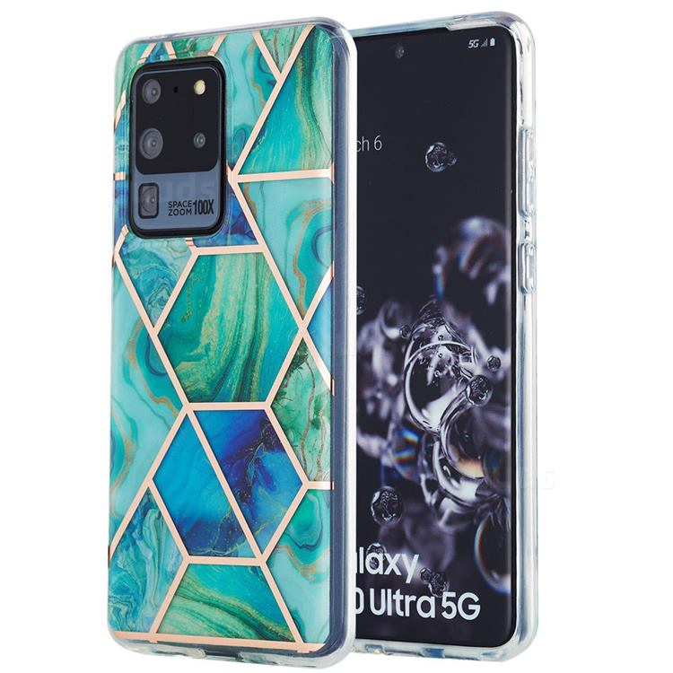Green Glacier Marble Pattern Galvanized Electroplating Protective Case Cover for Samsung Galaxy S20 Ultra