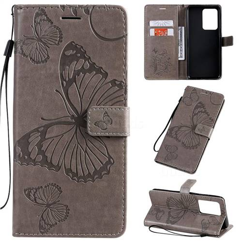 Embossing 3D Butterfly Leather Wallet Case for Samsung Galaxy S20 Ultra / S11 Plus - Gray