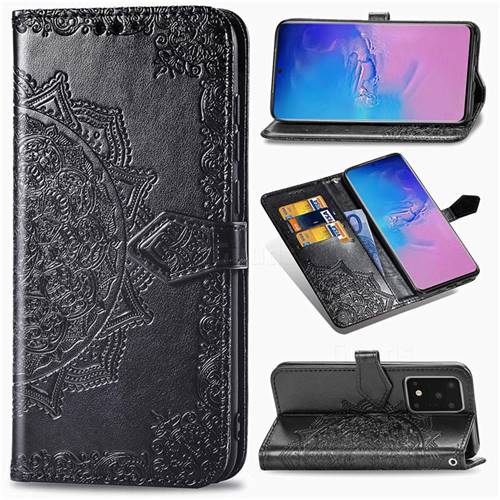 Embossing Imprint Mandala Flower Leather Wallet Case for Samsung Galaxy S20 Ultra / S11 Plus - Black