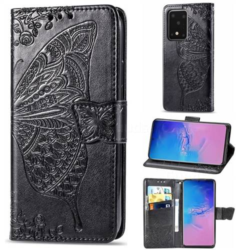 Embossing Mandala Flower Butterfly Leather Wallet Case for Samsung Galaxy S20 Ultra / S11 Plus - Black