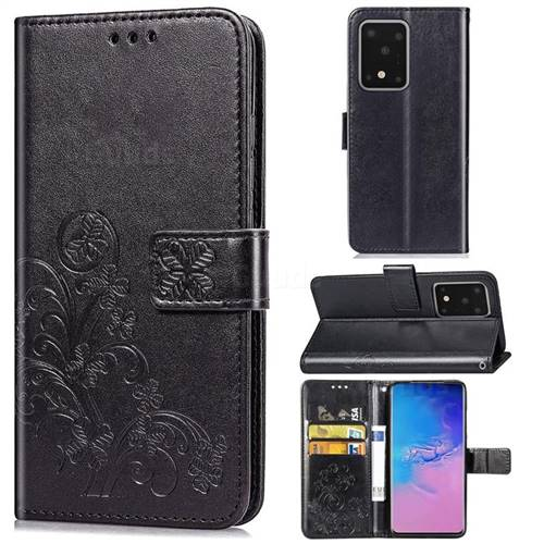 Embossing Imprint Four-Leaf Clover Leather Wallet Case for Samsung Galaxy S20 Ultra / S11 Plus - Black