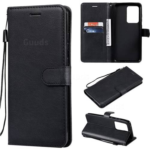 Retro Greek Classic Smooth PU Leather Wallet Phone Case for Samsung Galaxy S20 Ultra / S11 Plus - Black