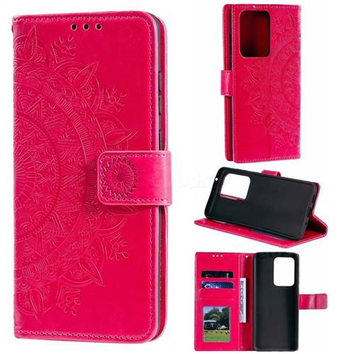 Intricate Embossing Datura Leather Wallet Case for Samsung Galaxy S20 Ultra / S11 Plus - Rose Red