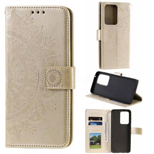Intricate Embossing Datura Leather Wallet Case for Samsung Galaxy S20 Ultra / S11 Plus - Golden