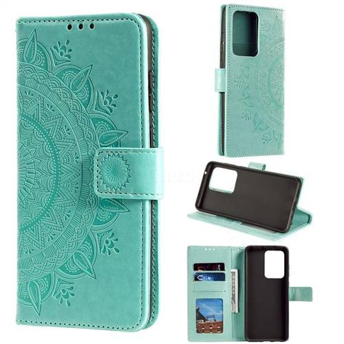 Intricate Embossing Datura Leather Wallet Case for Samsung Galaxy S20 Ultra / S11 Plus - Mint Green