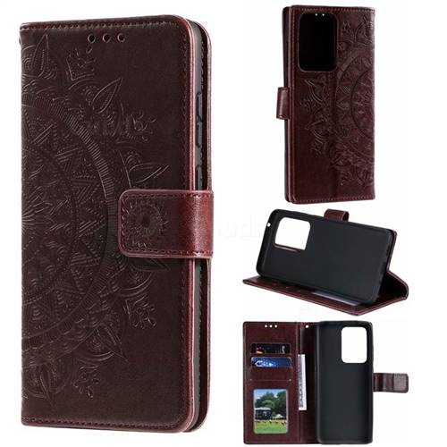 Intricate Embossing Datura Leather Wallet Case for Samsung Galaxy S20 Ultra / S11 Plus - Brown