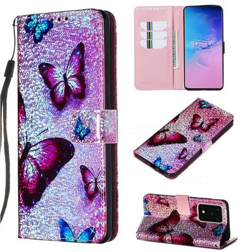 Blue Butterfly Sequins Painted Leather Wallet Case for Samsung Galaxy S20 Ultra / S11 Plus