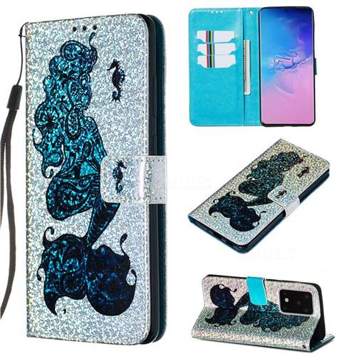 Mermaid Seahorse Sequins Painted Leather Wallet Case for Samsung Galaxy S20 Ultra / S11 Plus
